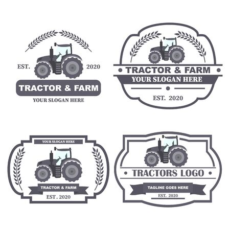 Set Tractor  . Organic food fresh design. Nature eco field label. Template with farm landscape. Label for natural farm products. Vector illustration. 矢量图像