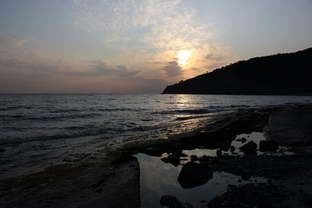 sunset in September on the Black Sea photo
