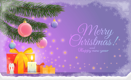 Greeting card of Merry Christmas and happy new year holidays with a copy space It shows Christmas elements such as branches of fir, gifts, a candle, the Angel and Christmas decoration. These are on a purple and blue background. Stock Illustratie