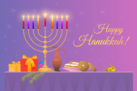 illustration of a greeting card for the holiday of Hanukkah with copy-space, the picture shows the festive table on it the gold Menorah with burning candles donuts gifts a toy dreidel and olive branch Illustration