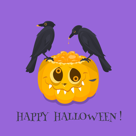 An orange stupid pumpkin with an open brain is on a purple background on it are two black crows peck brain of pumpkin. the concept is holiday and fun Halloween.