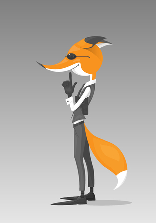 Cartoon character of a fox looks like a spy or a detective he is standing and holds an imaginary gun. The character wears a black and white costume. The fox is isolated on a grey background.