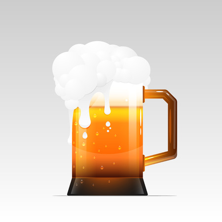 Mug of beer with The foam and drops. the foam flows down. The mug is isolated on a white background.