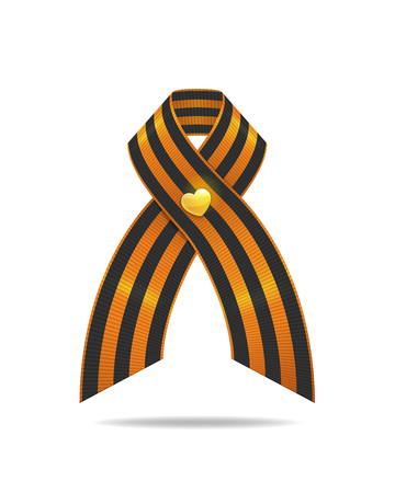 St. George ribbon in the second world war. Striped ribbon isolated on a white background.