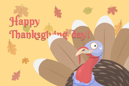 Flat vector illustration of happy thanksgiving day it shows a cute frightened cartoon turkey and autumn leaves. The bird has brown, red, blue and white color. It is on a light orange background. Standard-Bild - 122394650