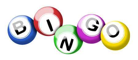 A colorful set of bingo balls illustration isolated on white