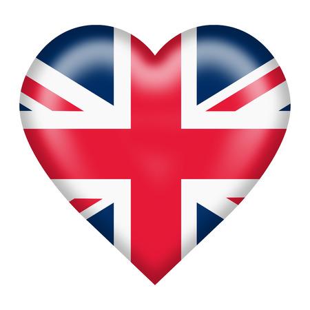 Un botón de corazón de la bandera de unión aislado en blanco Foto de archivo