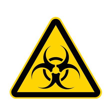 Een biologisch gevaarlijk geel gevaarteken dat op wit wordt geïsoleerd