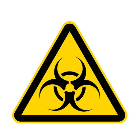 Un signo de peligro biológico amarillo aislado en blanco