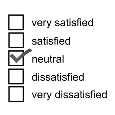 A neutral opinion survey response 5 point likert scale Фото со стока