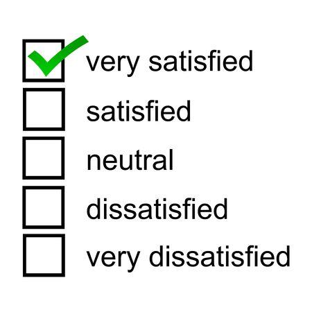 A very satisfied 5 point likert scale satisfaction survey Stok Fotoğraf