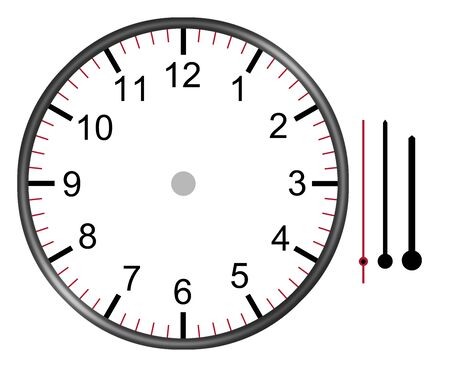 A clock illustration face with numbers hour minute and second hands isolated on white background.