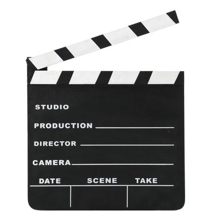 Classic hollywood chalk open clapperboard isolated on a white background.