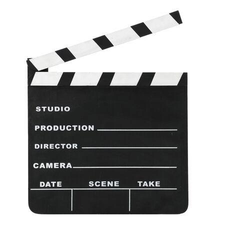 Klassische Hollywood-Kreide offene Filmklappe isoliert auf weißem Hintergrund.