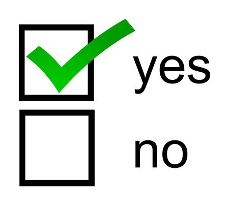 A Yes No checkbox with green yes box checked