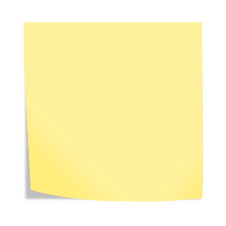 A yellow sticky note isolated on white background