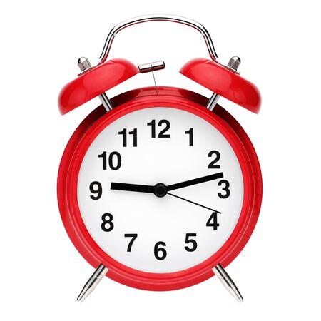 Despertador retro rojo aislado sobre fondo blanco.