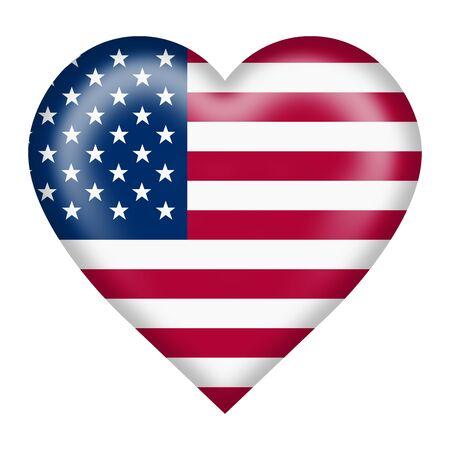 Un pulsante cuore bandiera degli Stati Uniti isolato su bianco con tracciato di ritaglio Archivio Fotografico
