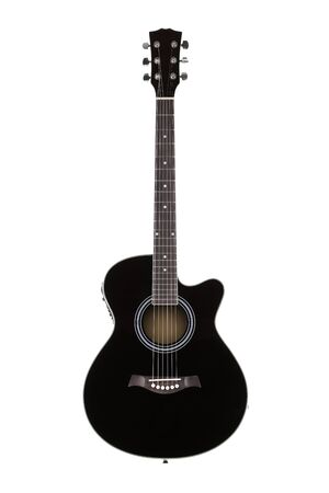 Front view of a black acoustic guitar isolated on white