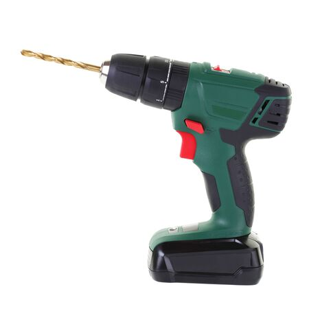 Side view of battery operated hand drill