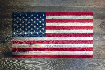 United states of America flag on rustic old wood surface background stars and stripes old glory