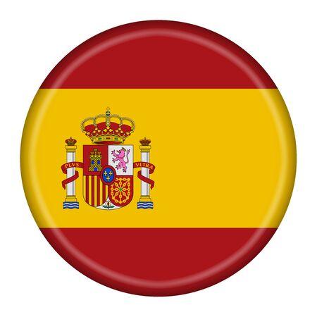 Spain Espana flag button illustration with clipping path Standard-Bild