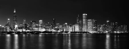 The Chicago Skyline at Night Black and White