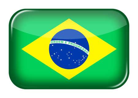 Brazil web icon rectangle button with clipping path Verde e amarela
