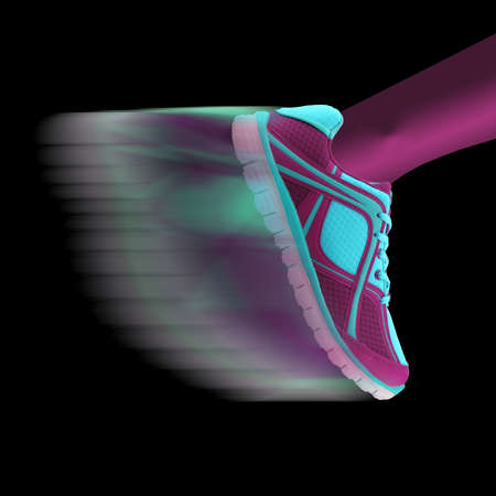 Speed concept. Athletes shoe moving with motion blur