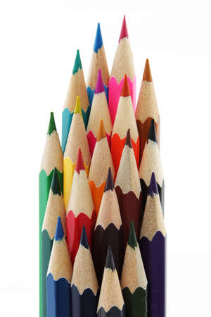 Multi colored pencils isolated on white background