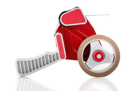 Side view of a red parcel tape dispenser on white background