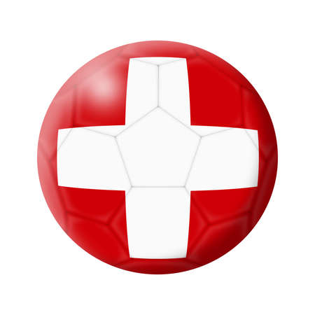 A Switzerland soccer ball football 3d illustration isolated on white with clipping path