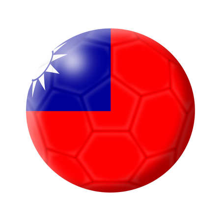 A Taiwan soccer ball football 3d illustration isolated on white with clipping path