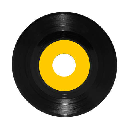A vinyl 45rpm single record on white with clipping path