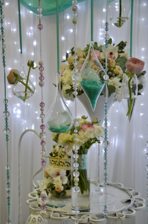 wedding decorations with flowers, ribbons, beads Stock Photo - 19135116