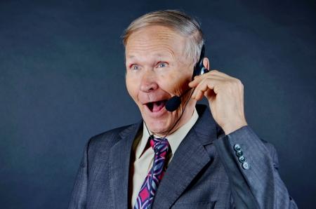 Businessman with headphones photo