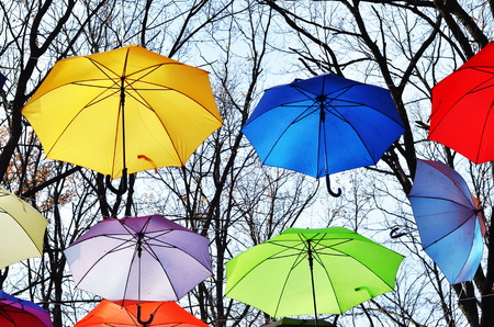 Bright umbrellas. Vivid Colors. Freedom concept photo