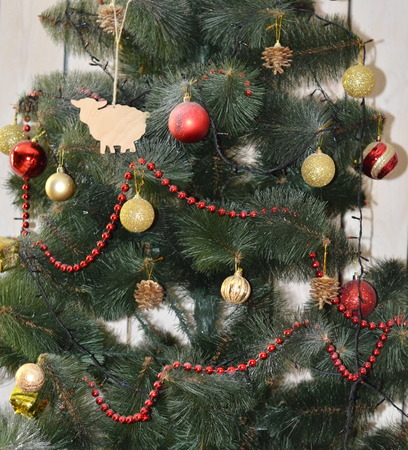 Christmas background .Christmas Fir Tree, christmas decorations photo