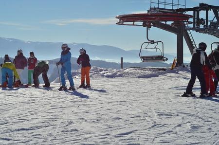 Skiers skiing. Snow. Winter. Mountains.