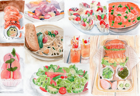Many food watercolor painting Stock Photo