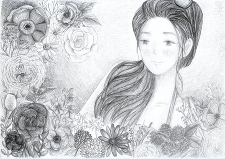 graphite: Illustration of girl and flower, hand-drawing by graphite pencil