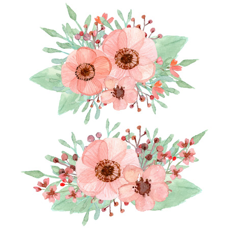 Vector of flowers decoration isolated on white background