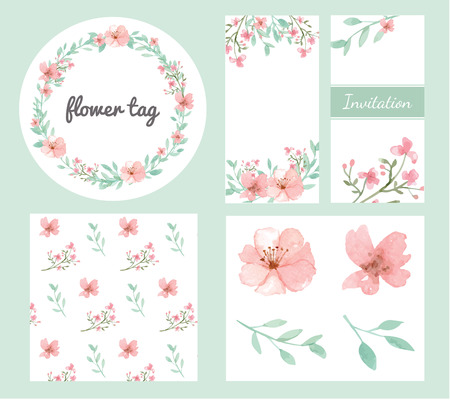 Vector of flowers and leaves design set in pastel collection Çizim