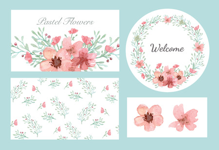 Vector of flowers and leaves design set in pastel collection  イラスト・ベクター素材