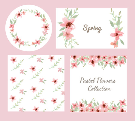 Vector of flowers and leaves design set in pastel collection Illustration