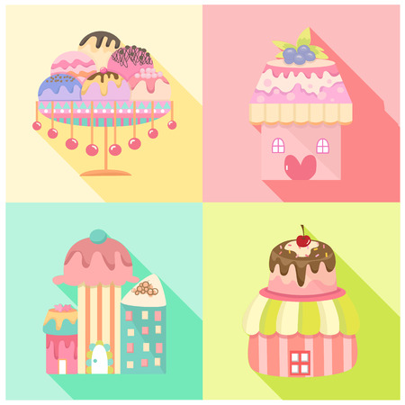 sherbet: Vector collection of ice cream and dessert icons design set Illustration