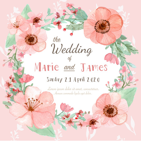 retro flower: Flower wedding invitation card, save the date card, greeting card