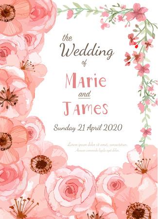 Tarjeta de invitación de la boda de la flor, la tarjeta de fecha, tarjetas de felicitación Foto de archivo - 40687414