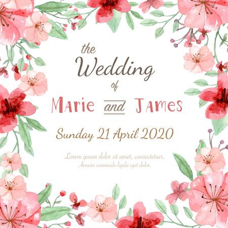 borde de flores: Tarjeta de invitación de la boda de la flor, la tarjeta de fecha, tarjetas de felicitación Vectores