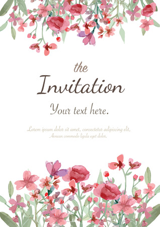 pink flower: Flower wedding invitation card, save the date card, greeting card